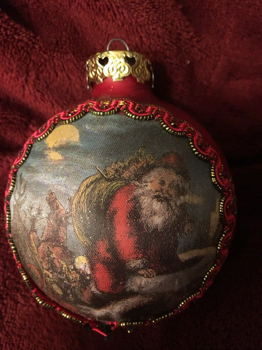 Vtg West Germany Rauch Victorian Father Christmas Silk Ornament