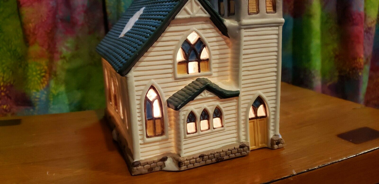 Ceramic Light Up Snow Spotted Church Christmas or Winter Decor