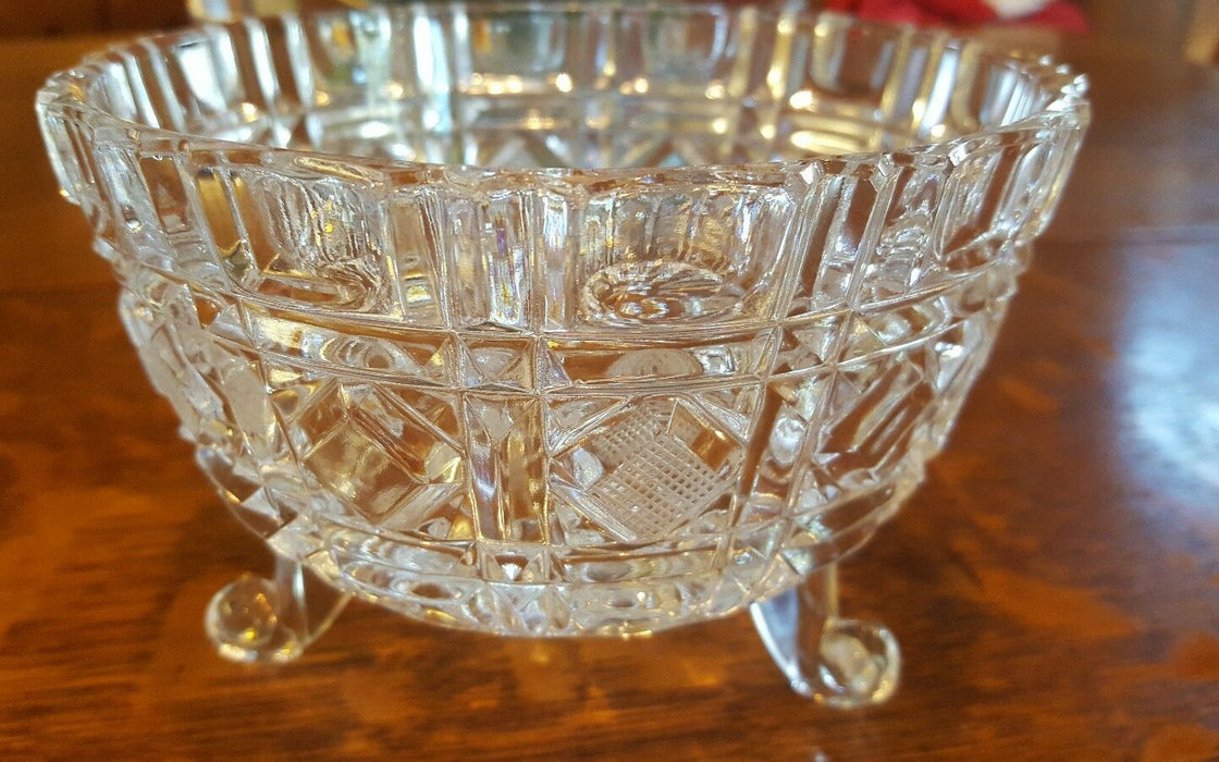 Vintage Geometric Shapes Clear Crystal Glass Footed Bowl