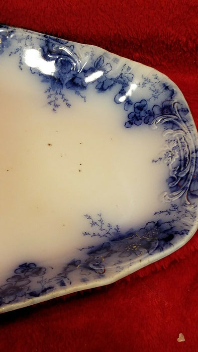 Antique Johnson Bros Peach Royal Flow Blue Serving Platter
