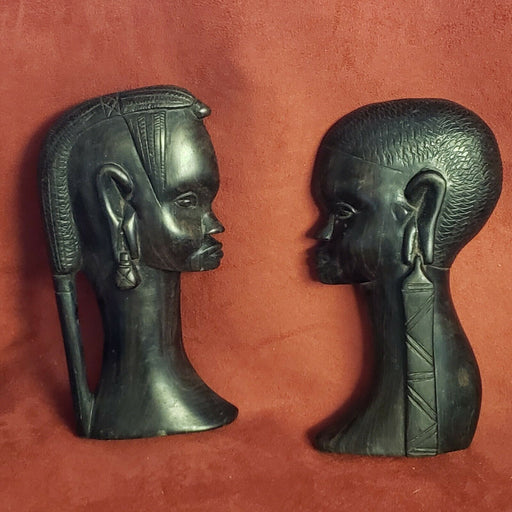 VINTAGE PAIR Ironstone  AFRICAN HAND CARVED WOODEN HEADS MAN/WOMAN