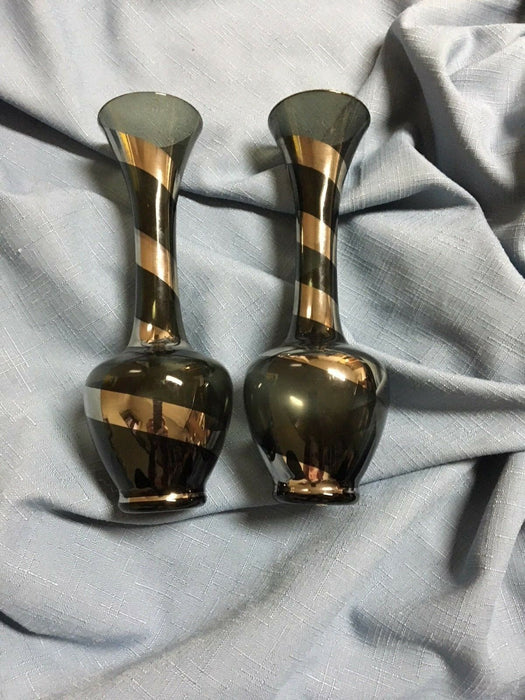 "Set of 2: Enesco Imports Made in Japan 8"" Glass Bud Vases Black & Silver Striped"