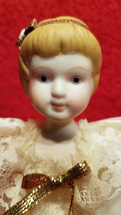 Blonde Angel in White Dress Christmas Tree Topper Ceramic Head & Hands