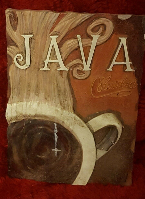 LOT 3: Espresso Roast, Java Columbua, Mocha Ceramic Signs w/ hangar backs