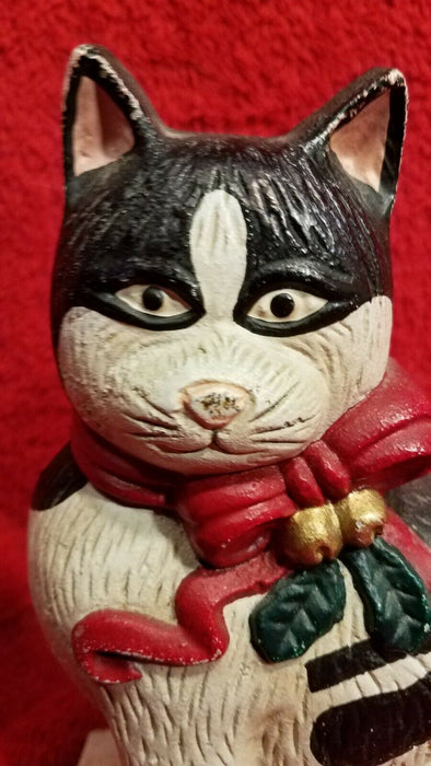 Cast Iron Black & White Christmas Cat Door Door Cat Wearing Red Bow and Bells