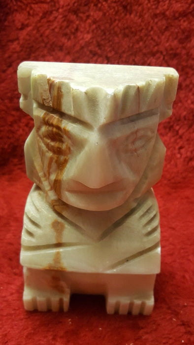 CARVED NATURAL STONE ALABASTER MARBLE TIKI BOOK ENDS Heavy duty