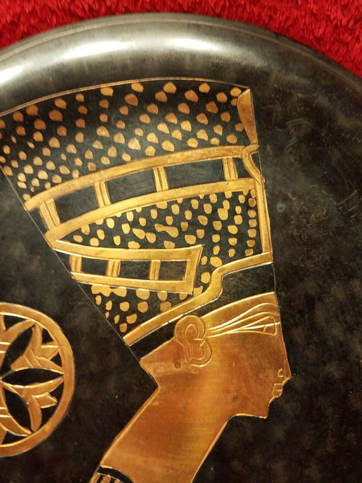 Vintage Copper Round Nefertiti Egyptian Serving Tray - Wall Hanging