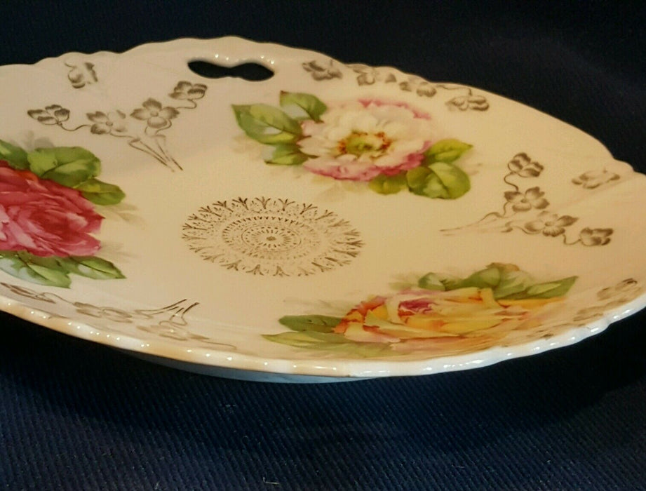 Antique Pink Rose Plate 1800s w/ handles