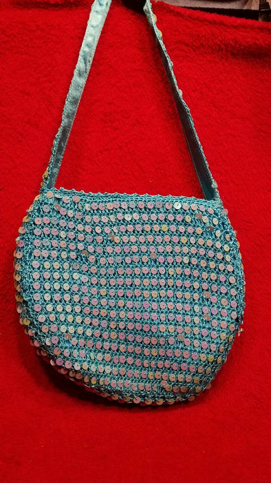 Macrame Style Turquoise Blue Hobo Shoulder Bag Purse w/ Satin Lining & Zipper