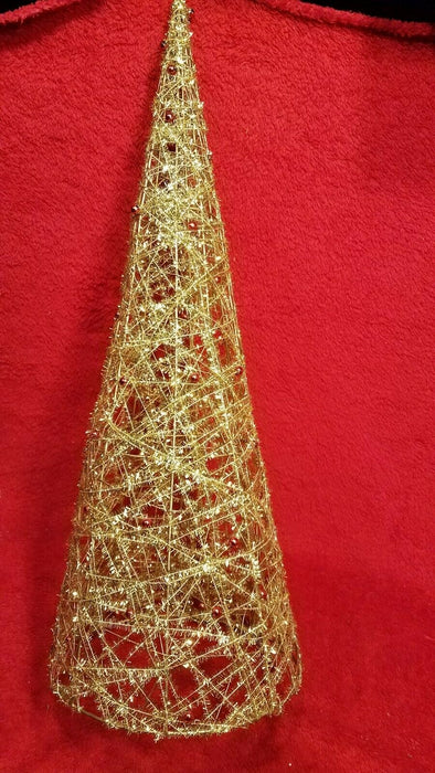 Lot 3 Gold Foil Cone Shaped Christmas Tree w/ Red Bulbs