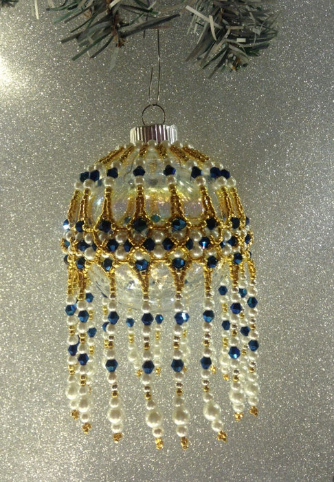 Blue, White, Gold-Handmade Beaded Christmas Keepsake Ornament-Changeable Cover