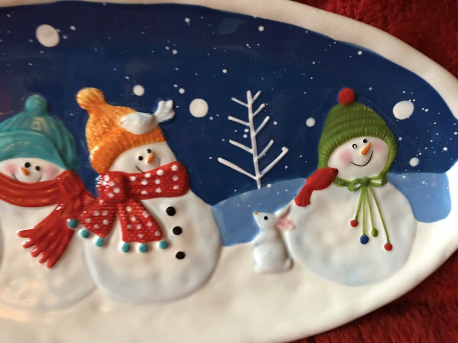 "St. Nicholas Square Platter & Cheese Knives Snowman, ""Snow Days"" Christmas"