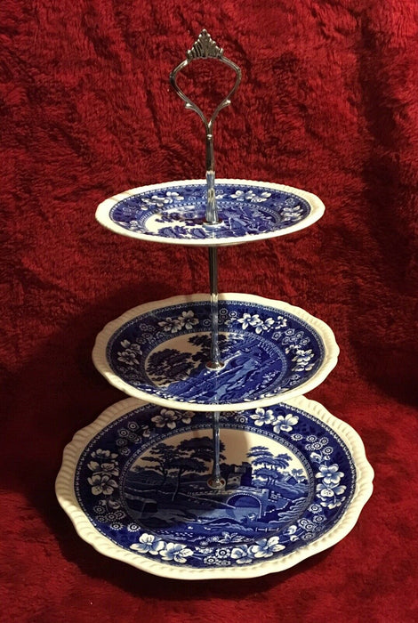 Vintage Blue Copeland Spode's Tower Three Tier Serving plates England