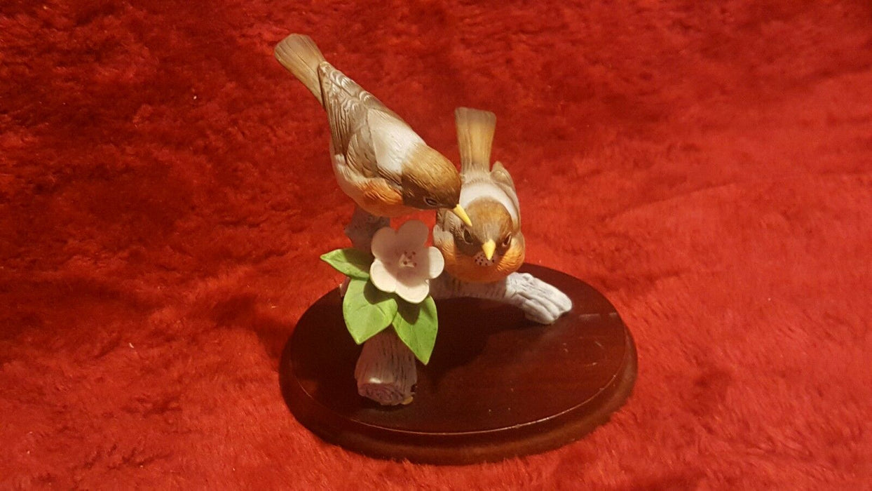 Pair Bird Porcelain Figurine #6218 and Ceramic Finches on Wood Andrea by Sadek