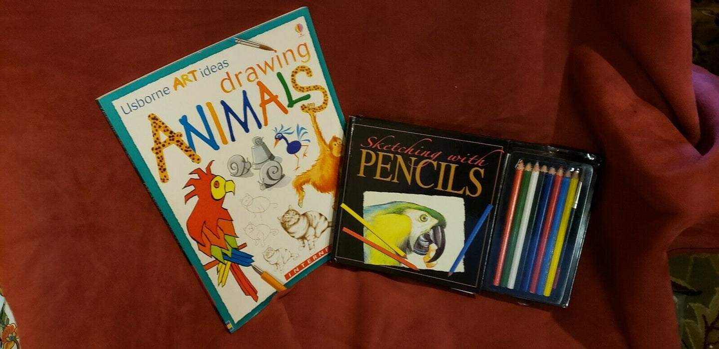 Imagine that! Colored Pencils Set w/ Adult Coloring Book & Sketching Ed Book