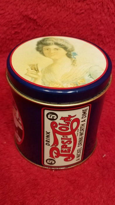 Pepsi-Cola A Nickel Drink - Worth a Dime Blue Round Tin