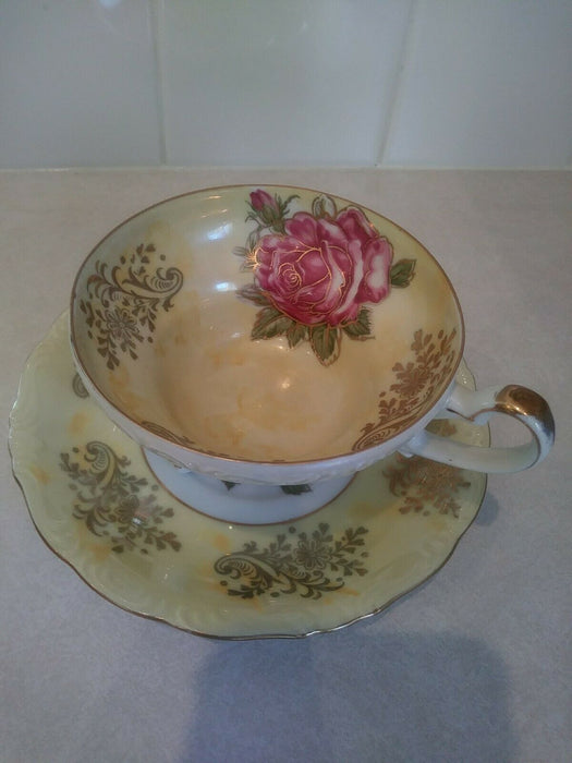 Vintage Royal Halsey Very Fine Gold Footed Cup and Saucer