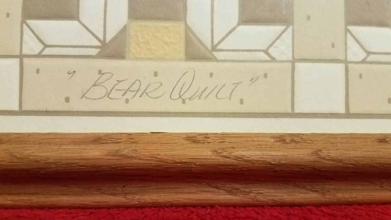 "Elizabeth Brownd Framed Limited Edition Signed ""Bear Quilt"" Serigraph"