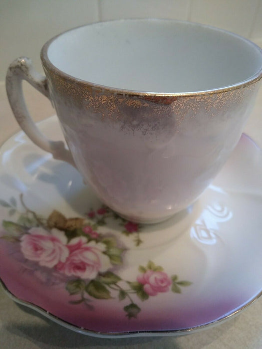 Lefton China Ornate Hand-Painted Tea Cup & Saucer 2758- Japan
