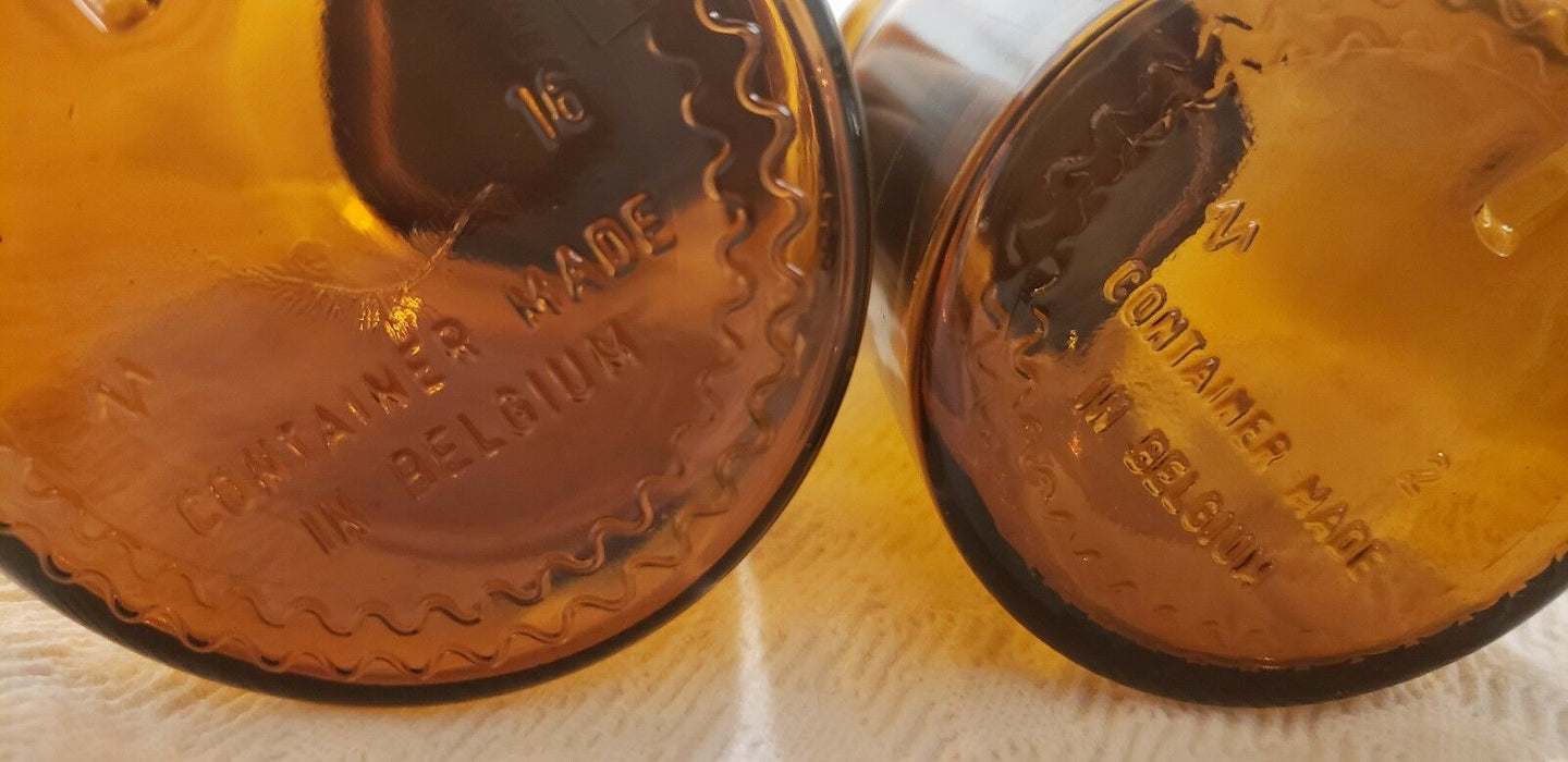 Vtg Set 3 Amber BROWN GLASS APOTHECARY JARS- two made in Belgium