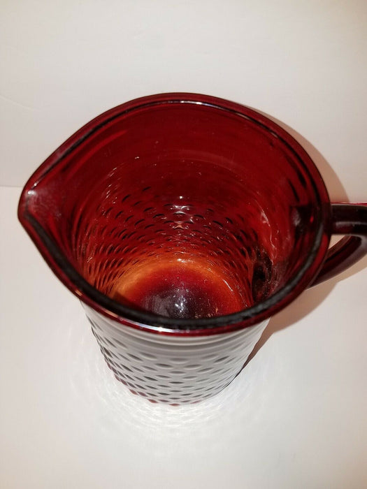 Vintage Royal Ruby Red Anchor Hocking Hobnail Bubble Pitcher