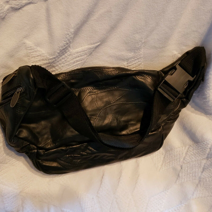XL Vintage Tinder Black Leather Fanny Pack Waist Hip Festival Bag Boho Patchwork