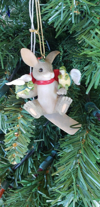 Rabbit with Angel Turtles on Shoulder Hanging Ornament Red Bow & Holly
