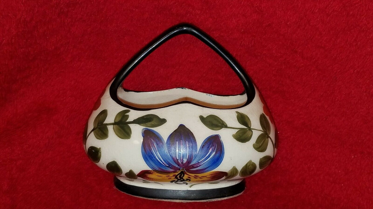 Hand Painted Italian Style Lotus Flower Basket Shaped Ceramic Planter