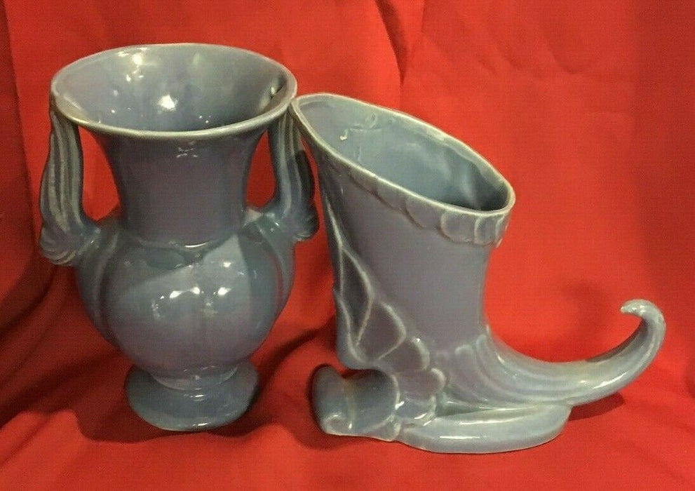 Lot of 2: Vintage Niloak Pottery Blue Cornucopia Vase & matching 2 Handle Vase