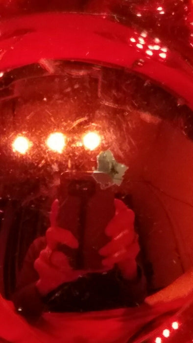 "Lot of 30 Medium Sized Holiday Time Red Glass Christmas Tree Bulbs 2"" and 1.5"""