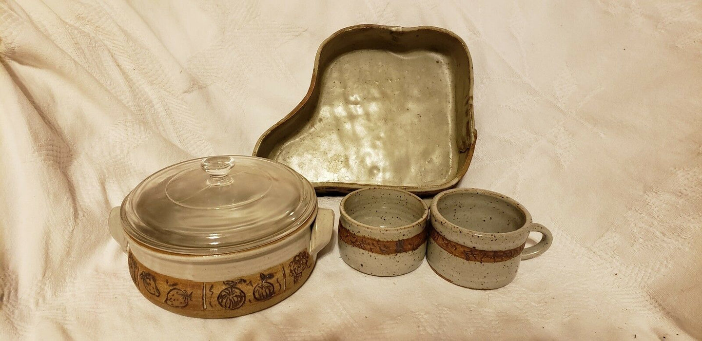 Lot 4:  Signed Pottery Set - by Trudy - Neutral Colors, Mugs & Dinner Plate