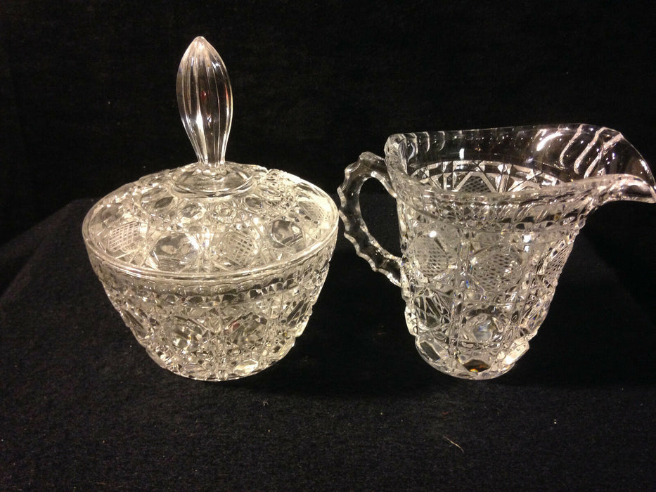 Crystal Creamer and Sugar - Intricate Geometric Design; Flower in Center