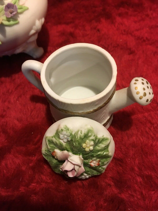Lefton Vintage Mini Hurricane Lamp Floral porcelain, Wheelbarrow & Watercan