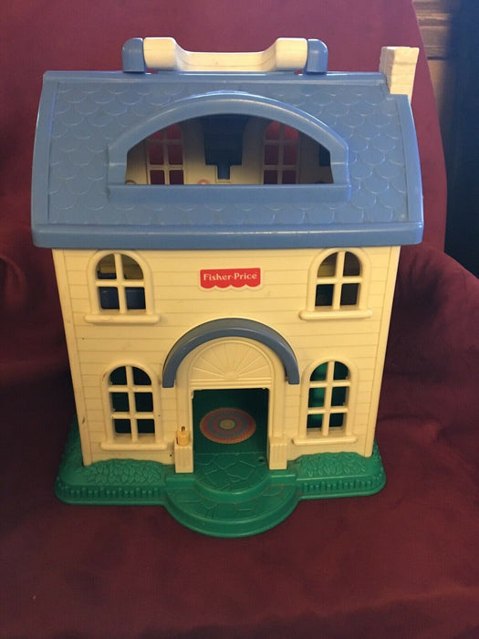 Fisher Price blue & beige Victorian Play Dollhouse foldable
