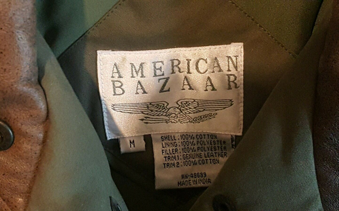 American Bazaar Heavy Winter Coat Mens Size Medium Army Green