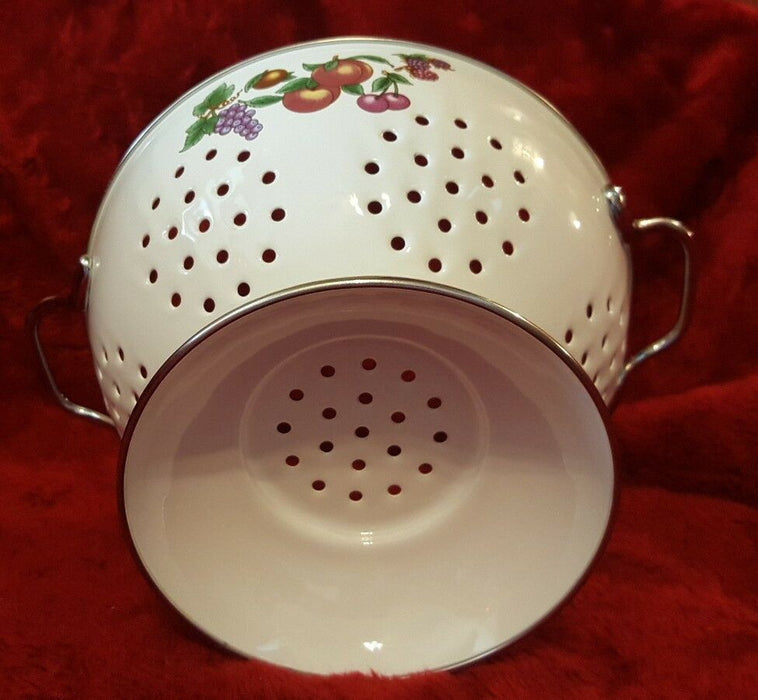 Colander Enamel Metal Strainer Footed White with Fruit Design Silver Handles