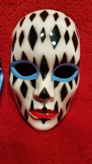 Set of 2 Ceramic New Orleans Mardi Gras Masks 1 w/ Blue X 1 w/ Black Diamonds