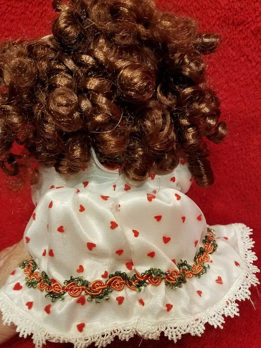 DanDee Collectors Choice Porcelain Doll White Dress Red Hearts Musical Animated