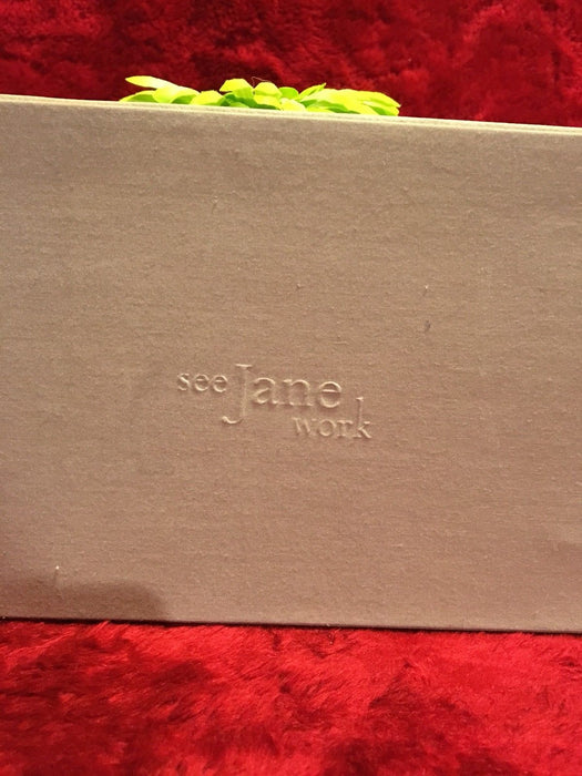 "Tan-with Lime Green Flower ""Leather"" Desk Organizer - ""see Jane work"" w/ openers"