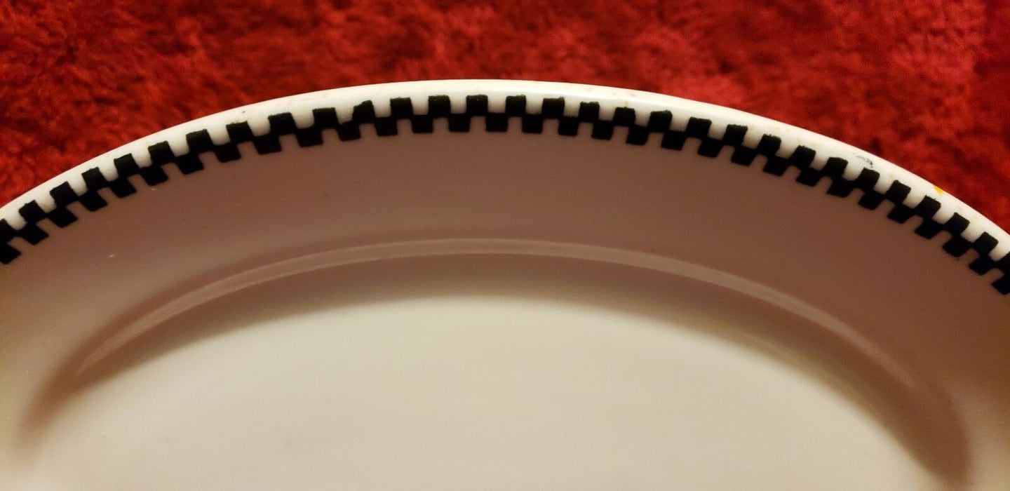 "Vintage, Carr China, Blue Geometric, 12"" x 7"" Oval Platter, Made in USA"