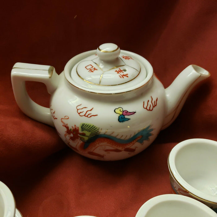 Vintage Asian Red Dragon Porcelain Teapot with 7 cups Made in Japan