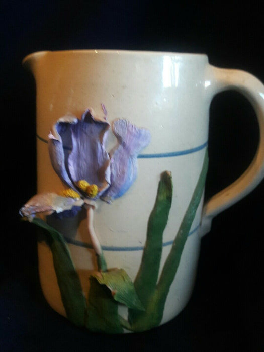 "POTTERY PITCHER SR POTTER HOUSTON HANDPAINTED beautiful Orchid 7 1/2"" tall"