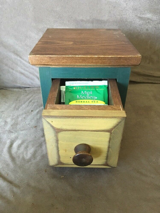 Painted Sturdy Wood Gourmet Tea/candy Box/ Drawer Refurbished