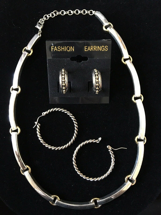 Monet Vintage Choker Necklace Silver & Gold High Quality Well Made & 2 Earrings