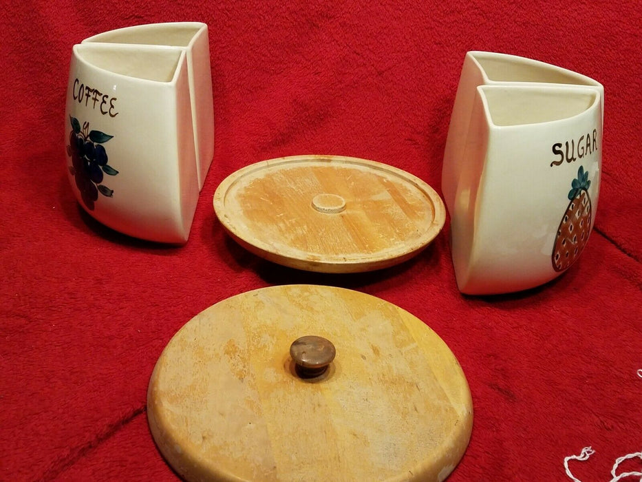 Vintage Purinton Flour Sugar Coffee Tea Canister Set Lazy Susan Wood Base