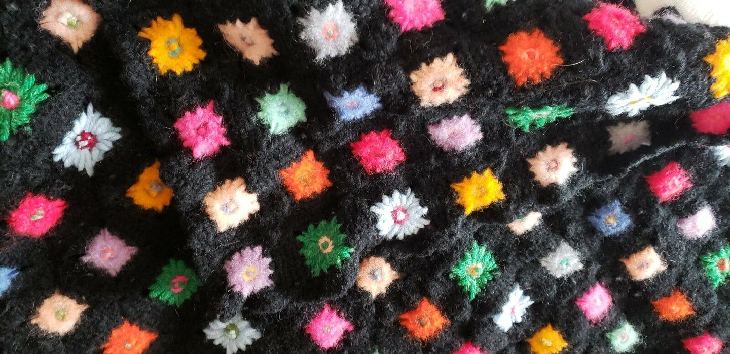 Handmade Afghan Crocheted Multi-Colored Flowers Black Granny Blanket, 49 x 32""