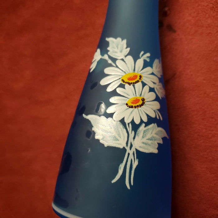Lot 2: Blue Satin Bud Vase, Daisies & Porcelain Bud Vase Raised Flowers