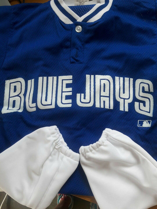 YOUTH Small Blue & White Jays MLB mesh jersey and pants, 100% Polyester