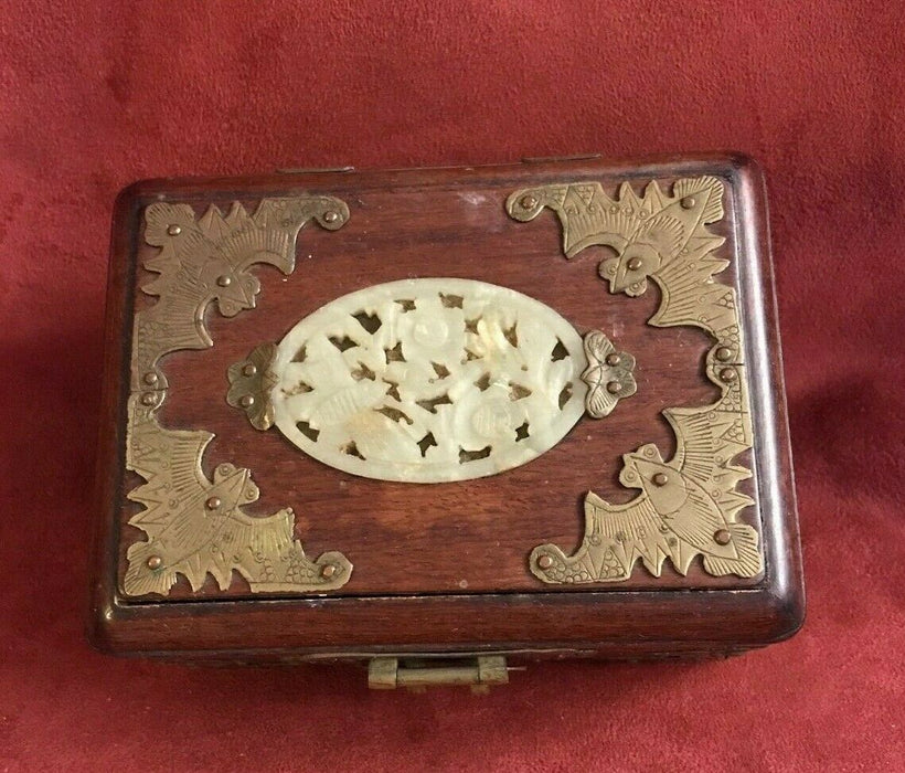 Lovely CHINESE Wooden Jewelry Box w/Jade Piece on  Top & Brass Hinges