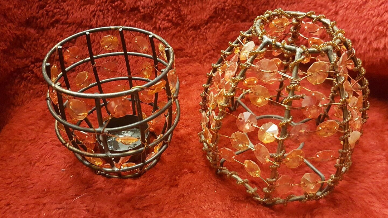 Lot 4: Peach & Brown Beaded Wire Candle Holders